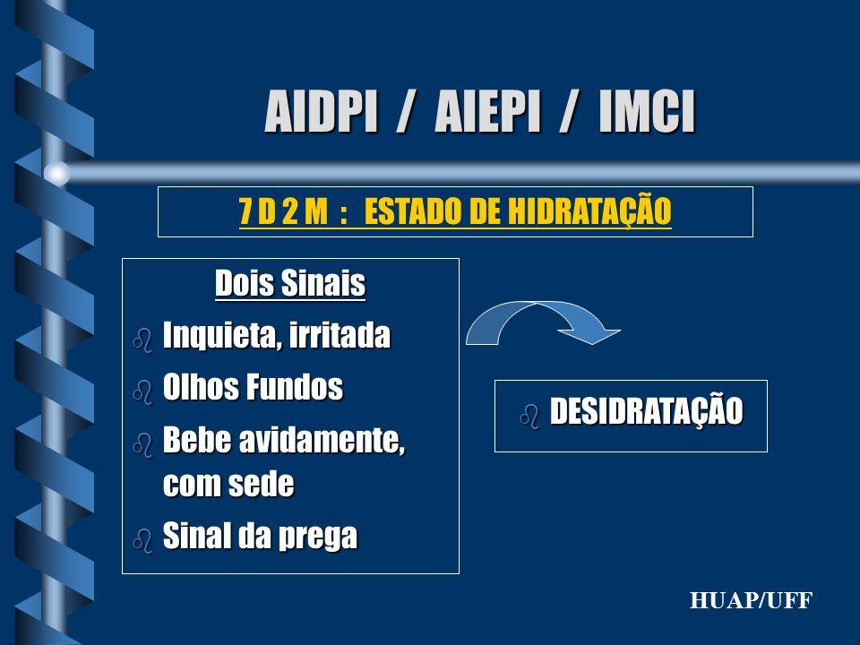 AIDPI / AIEPI / IMCI Dois Sinais b Inquieta, irritada b Olhos Fundos b Bebe avidamente, com sede b Sinal da prega 7 D 2 M : ESTADO DE HIDRATAÇÃO b DES
