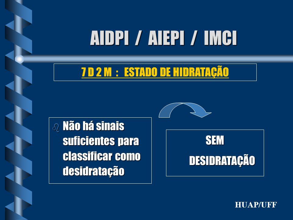 AIDPI / AIEPI / IMCI b Não há sinais suficientes para classificar como desidratação 7 D 2 M : ESTADO DE HIDRATAÇÃO SEMDESIDRATAÇÃO HUAP/UFF