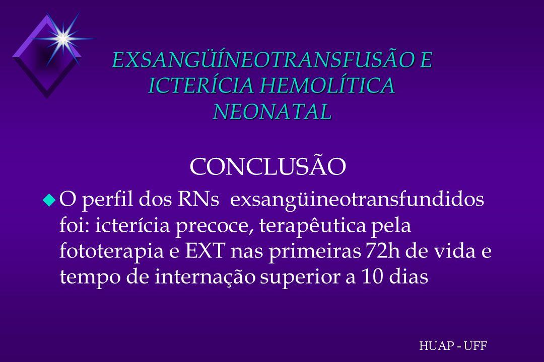 EXSANGÜÍNEOTRANSFUSÃO E ICTERÍCIA HEMOLÍTICA NEONATAL CONCLUSÃO u O perfil dos RNs exsangüineotransfundidos foi: icterícia precoce, terapêutica pela fototerapia e EXT nas primeiras 72h de vida e tempo de internação superior a 10 dias