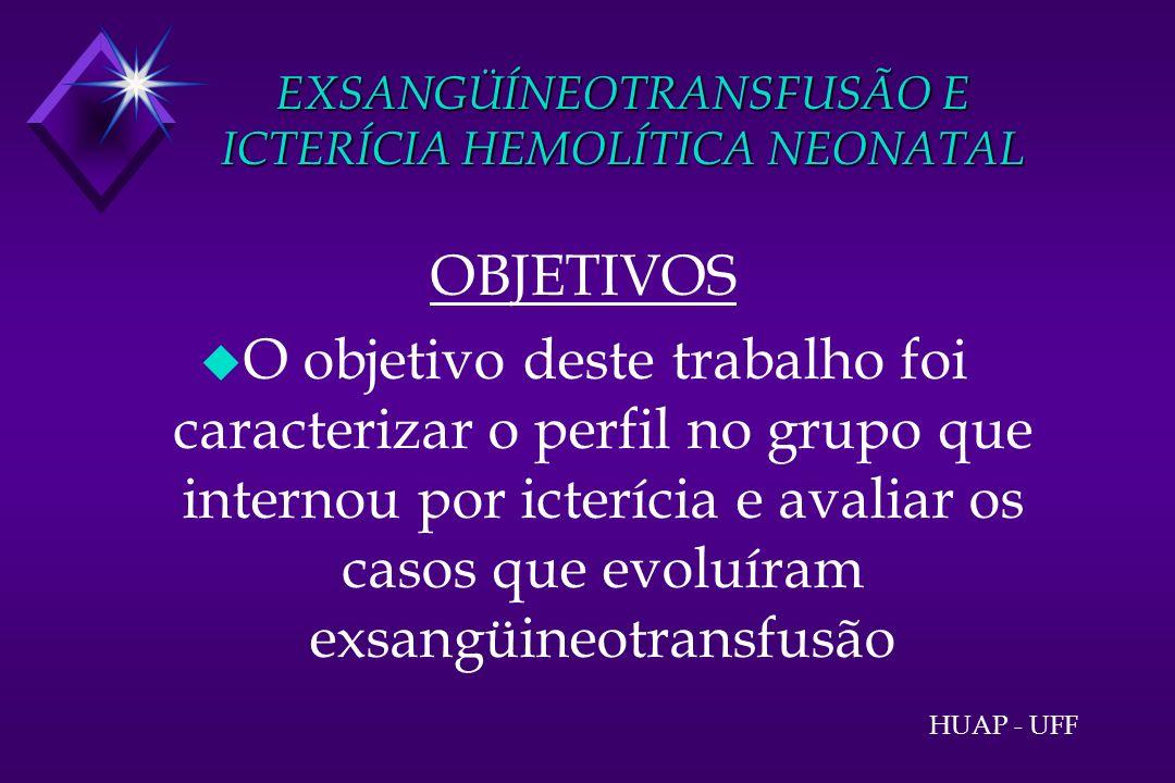 EXSANGÜÍNEOTRANSFUSÃO E ICTERÍCIA HEMOLÍTICA NEONATAL MÉTODOS u Foram estudados retrospectivamente, 400 prontuários de recém-natos (RNs) internados na enfermaria de lactentes do HUAP, de jan/1993 a jan/1996 HUAP - UFF