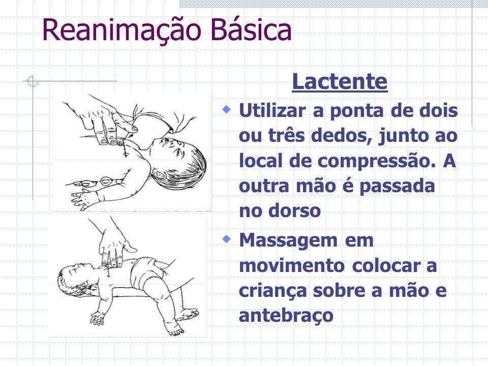 Reanimação Básica Criança Pré-escolar compressão com a base de uma das mão ou com a ponta dos dedos Durante o ato a cabeça é posicionada com uma certa