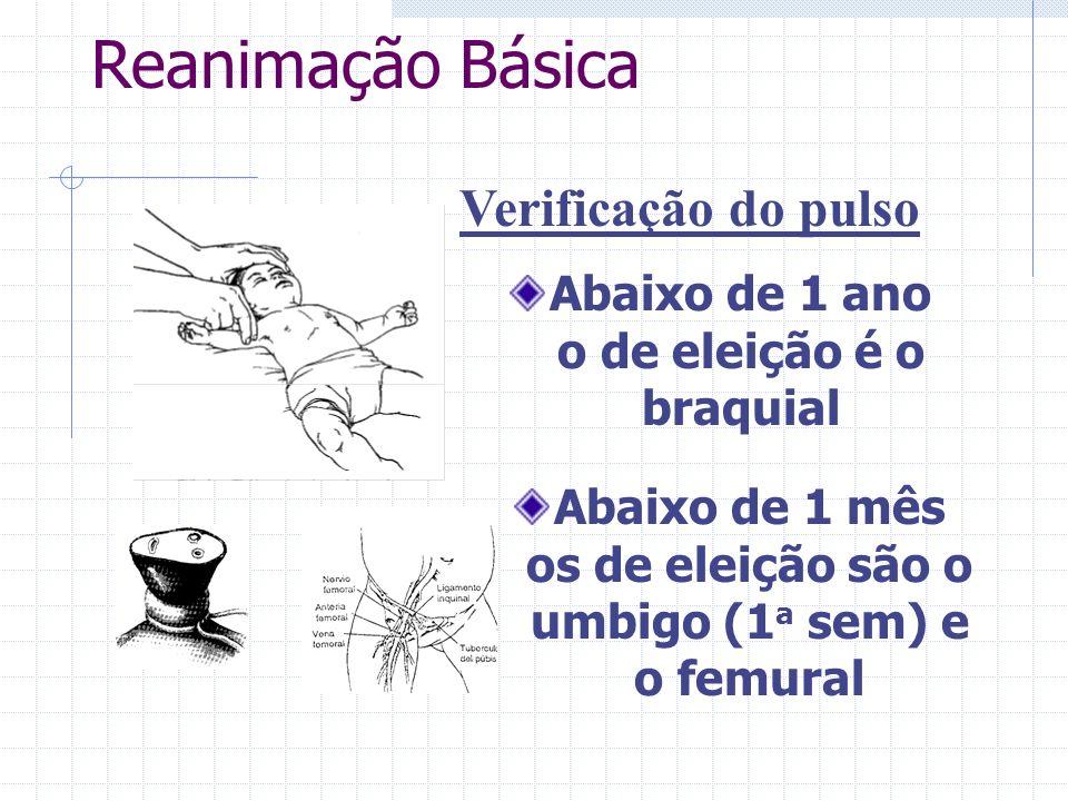 Abaixo de 1 ano o de eleição é o braquial Verificação do pulso Abaixo de 1 mês os de eleição são o umbigo (1 a sem) e o femural