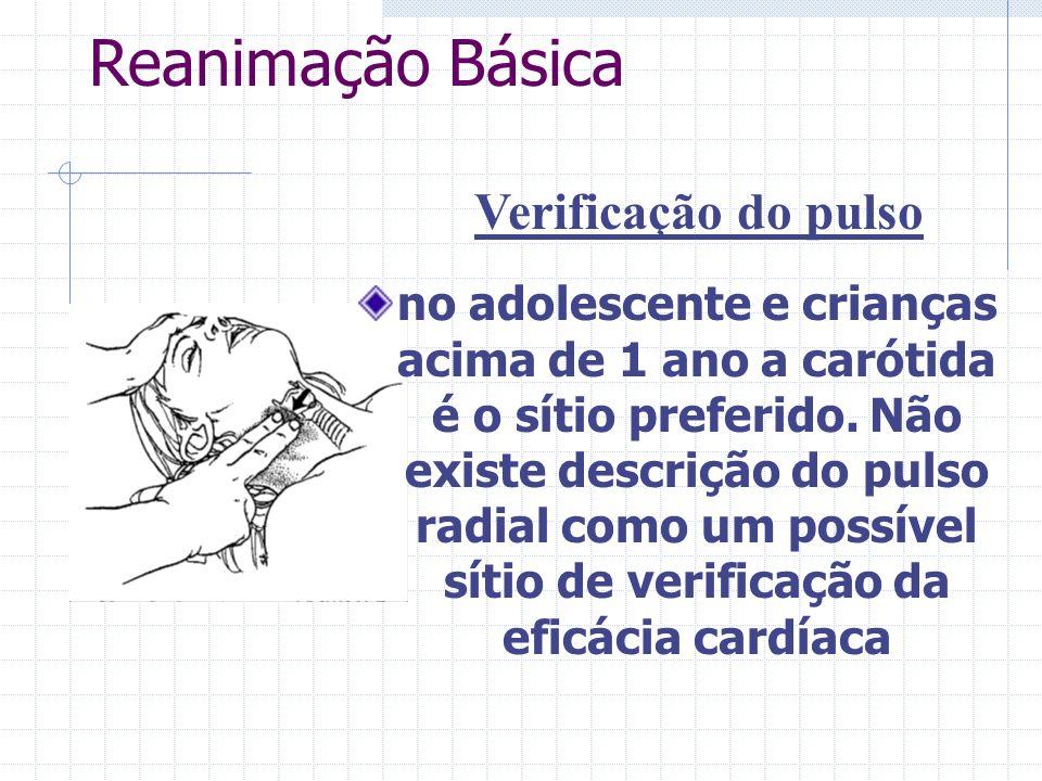 Reanimação Básica Verificação do pulso no adolescente e crianças acima de 1 ano a carótida é o sítio preferido.