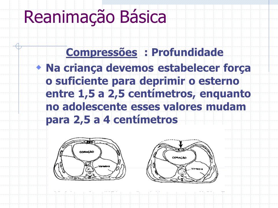 Reanimação Básica Compressões : Profundidade Na criança devemos estabelecer força o suficiente para deprimir o esterno entre 1,5 a 2,5 centímetros, enquanto no adolescente esses valores mudam para 2,5 a 4 centímetros