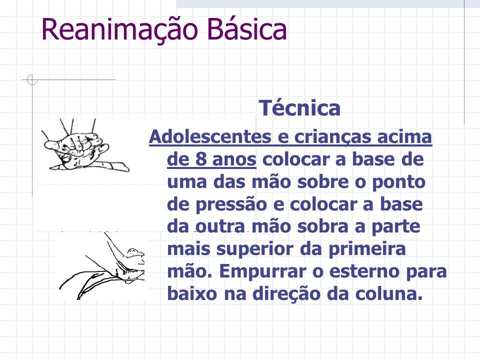 Reanimação Básica Compressões : Profundidade Na criança devemos estabelecer força o suficiente para deprimir o esterno entre 1,5 a 2,5 centímetros, en