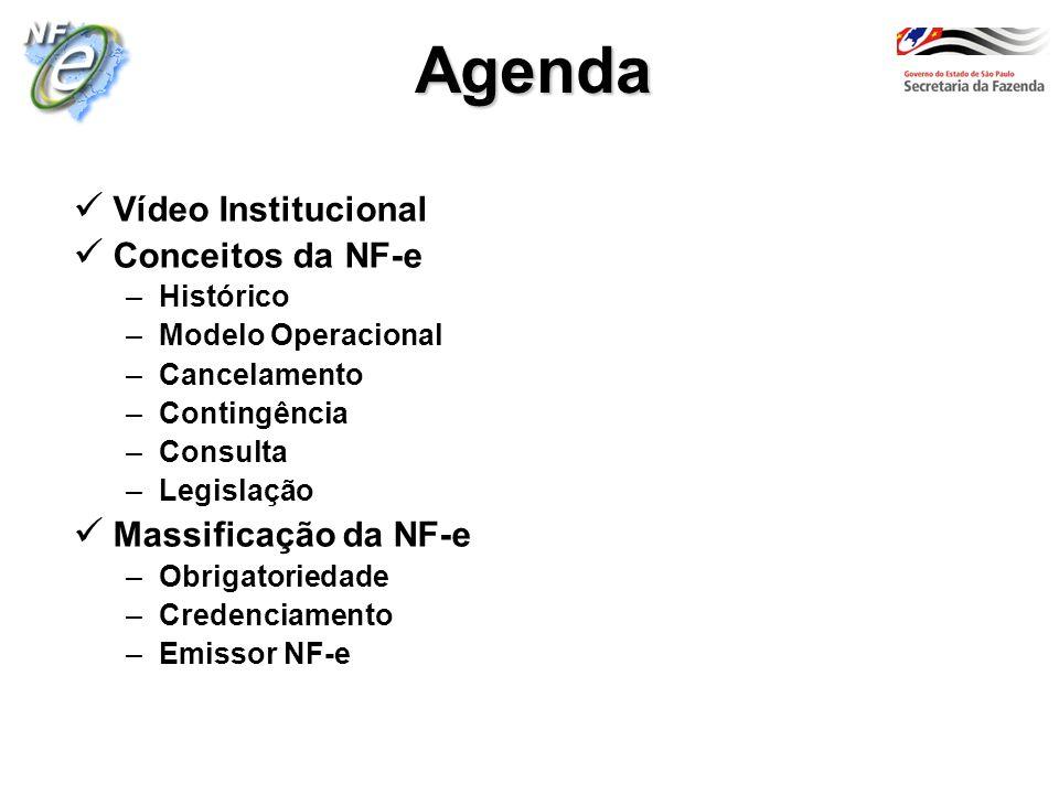 Vídeo Institucional Conceitos da NF-e –Histórico –Modelo Operacional –Cancelamento –Contingência –Consulta –Legislação Massificação da NF-e –Obrigator