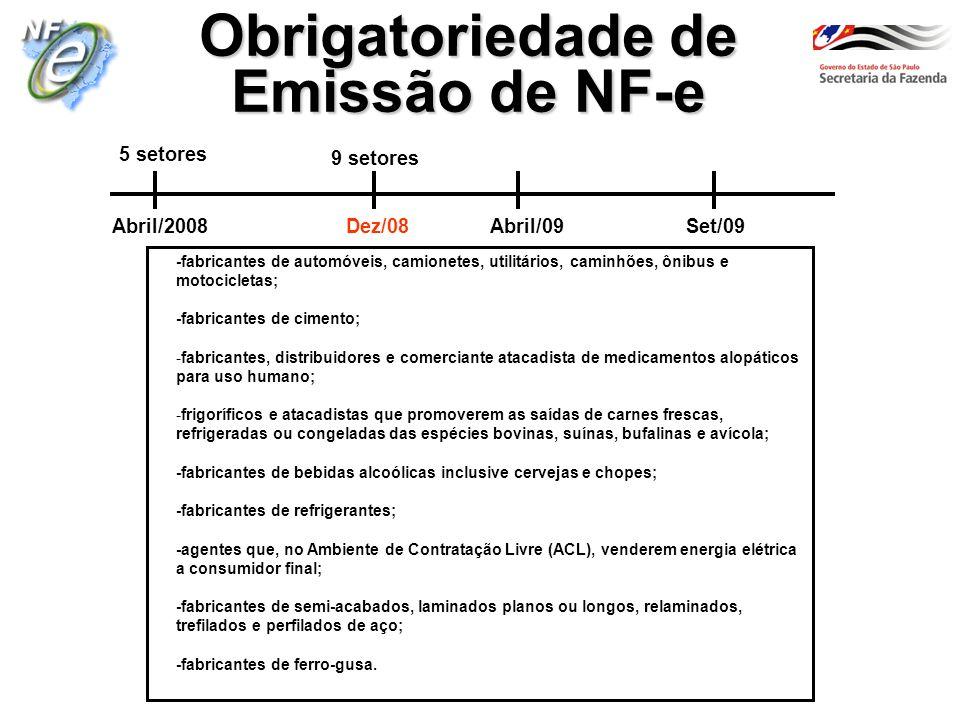 Obrigatoriedade de Emissão de NF-e -fabricantes de automóveis, camionetes, utilitários, caminhões, ônibus e motocicletas; -fabricantes de cimento; -fa