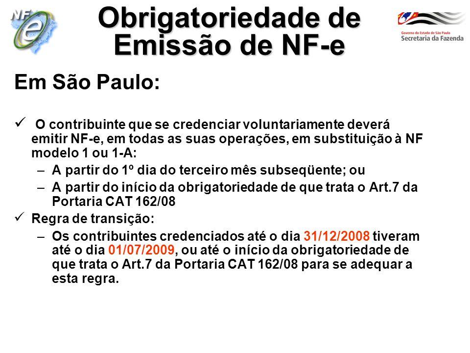 Em São Paulo: O contribuinte que se credenciar voluntariamente deverá emitir NF-e, em todas as suas operações, em substituição à NF modelo 1 ou 1-A: –