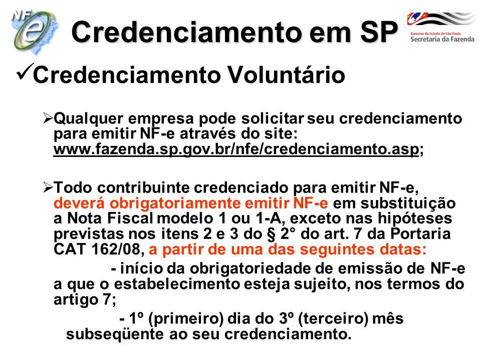 Credenciamento em SP Credenciamento Voluntário Qualquer empresa pode solicitar seu credenciamento para emitir NF-e através do site: www.fazenda.sp.gov