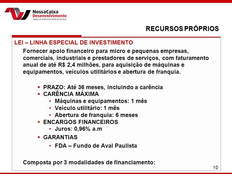 LEI – LINHA ESPECIAL DE INVESTIMENTO Fornecer apoio financeiro para micro e pequenas empresas, comerciais, industriais e prestadores de serviços, com