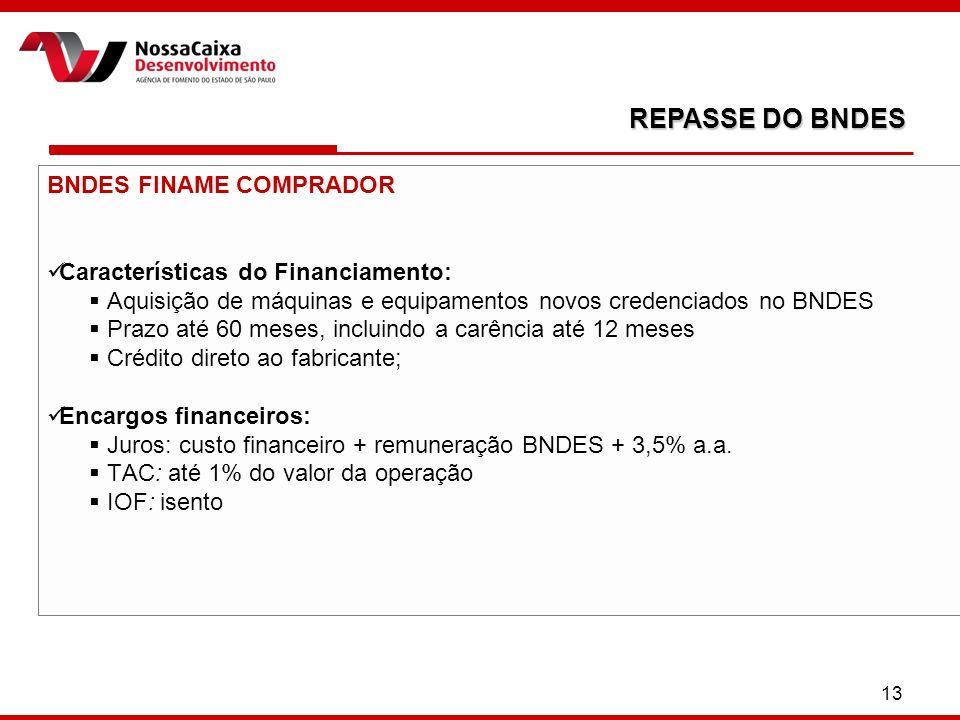 13 BNDES FINAME COMPRADOR Características do Financiamento: Aquisição de máquinas e equipamentos novos credenciados no BNDES Prazo até 60 meses, inclu