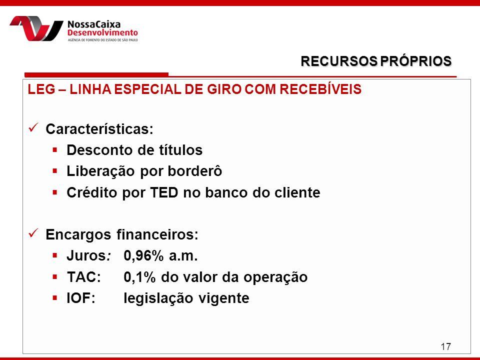 17 LEG – LINHA ESPECIAL DE GIRO COM RECEBÍVEIS Características: Desconto de títulos Liberação por borderô Crédito por TED no banco do cliente Encargos