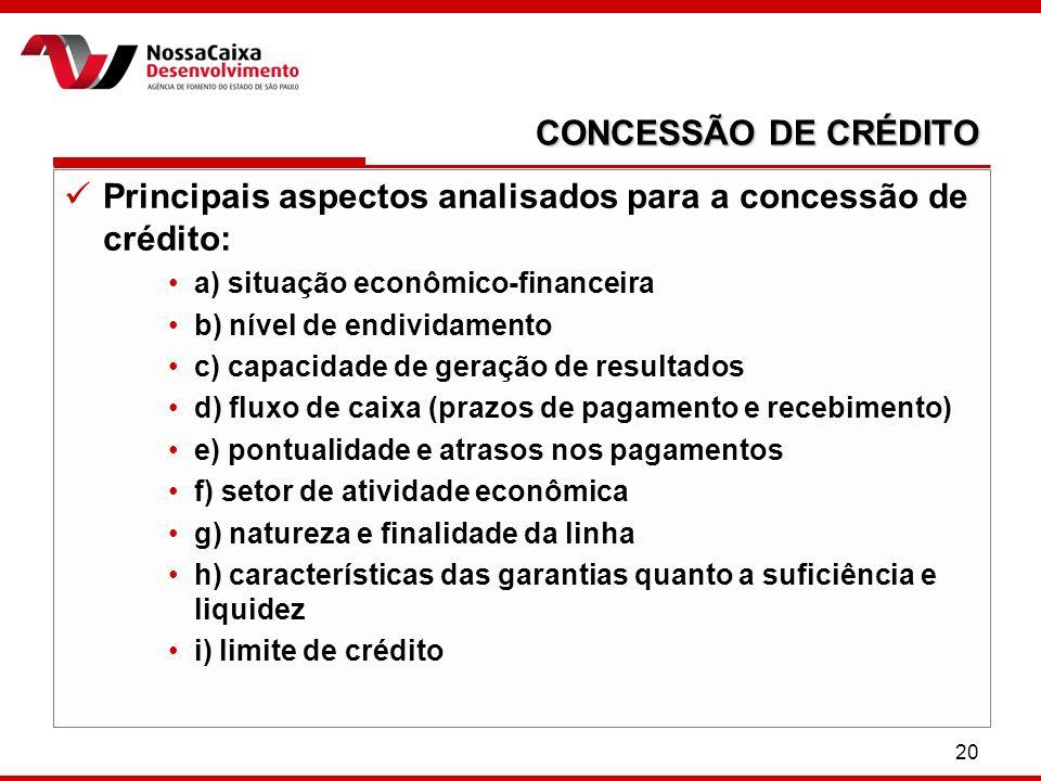 20 CONCESSÃO DE CRÉDITO Principais aspectos analisados para a concessão de crédito: a) situação econômico-financeira b) nível de endividamento c) capa