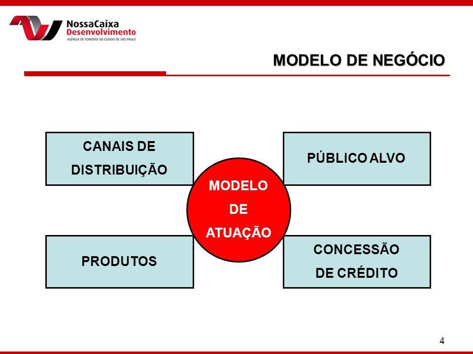 4 MODELO DE NEGÓCIO MODELO DE ATUAÇÃO CANAIS DE DISTRIBUIÇÃO CONCESSÃO DE CRÉDITO PÚBLICO ALVO PRODUTOS