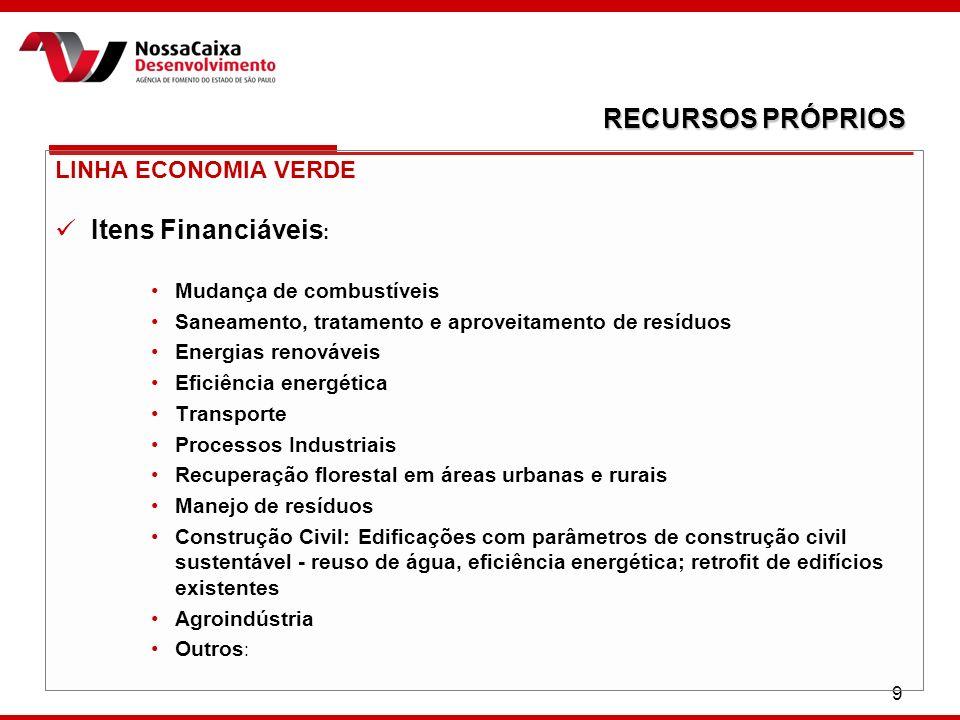 9 LINHA ECONOMIA VERDE Itens Financiáveis : Mudança de combustíveis Saneamento, tratamento e aproveitamento de resíduos Energias renováveis Eficiência