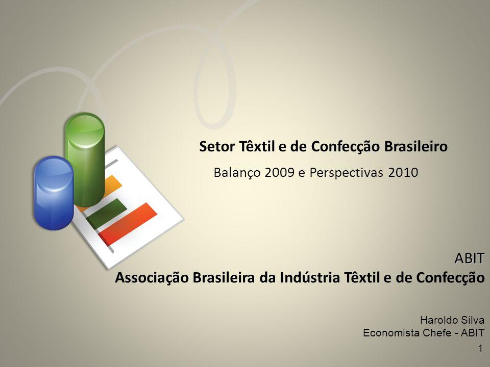 Setor Têxtil e de Confecção Brasileiro Balanço 2009 e Perspectivas 2010 ABIT Associação Brasileira da Indústria Têxtil e de Confecção Haroldo Silva Ec