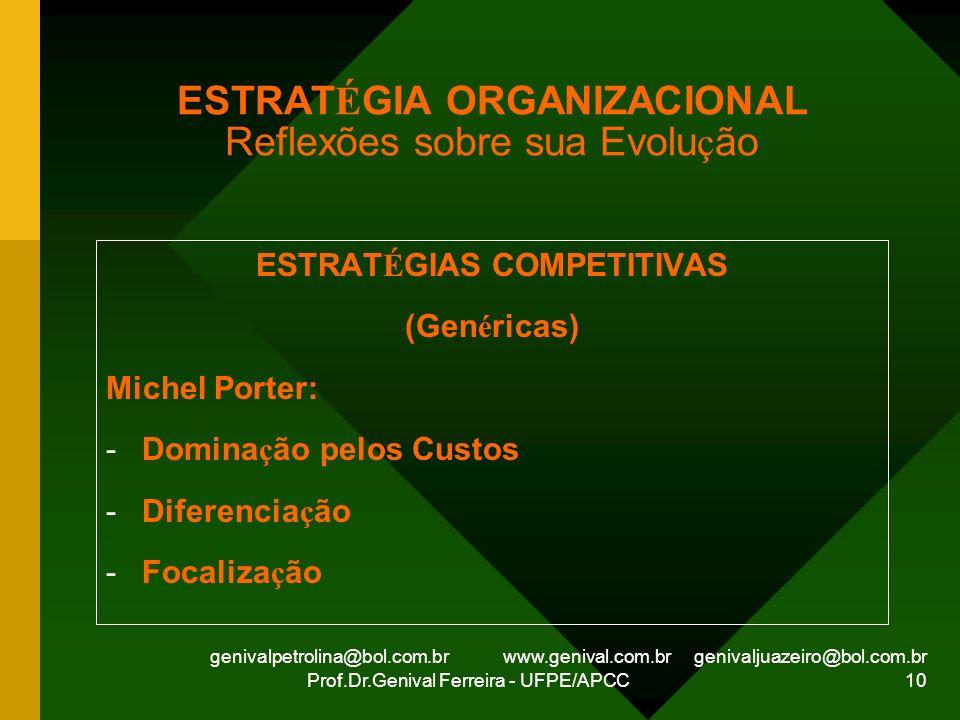 genivalpetrolina@bol.com.br www.genival.com.br genivaljuazeiro@bol.com.br Prof.Dr.Genival Ferreira - UFPE/APCC 10 ESTRAT É GIA ORGANIZACIONAL Reflexõe