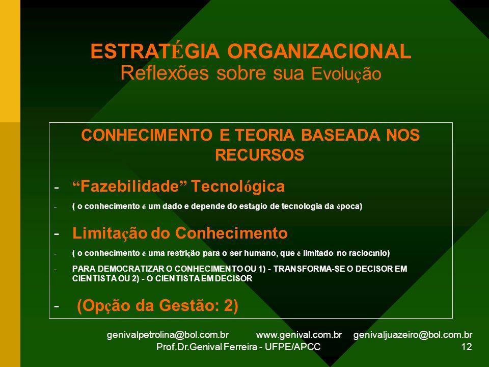genivalpetrolina@bol.com.br www.genival.com.br genivaljuazeiro@bol.com.br Prof.Dr.Genival Ferreira - UFPE/APCC 12 ESTRAT É GIA ORGANIZACIONAL Reflexõe