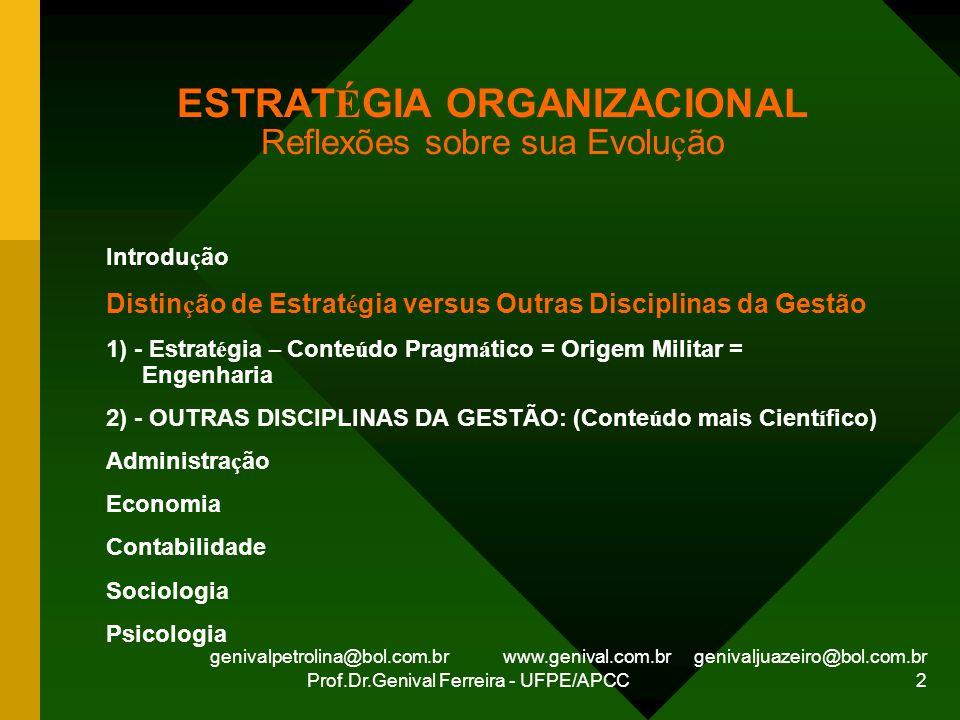 genivalpetrolina@bol.com.br www.genival.com.br genivaljuazeiro@bol.com.br Prof.Dr.Genival Ferreira - UFPE/APCC 2 ESTRAT É GIA ORGANIZACIONAL Reflexões