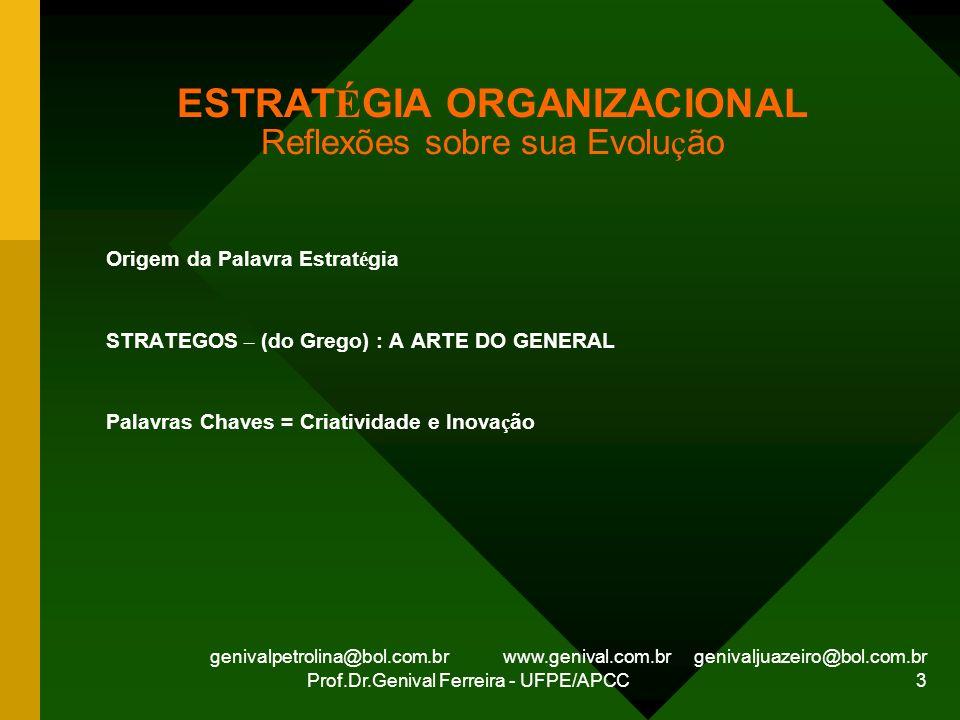genivalpetrolina@bol.com.br www.genival.com.br genivaljuazeiro@bol.com.br Prof.Dr.Genival Ferreira - UFPE/APCC 3 ESTRAT É GIA ORGANIZACIONAL Reflexões
