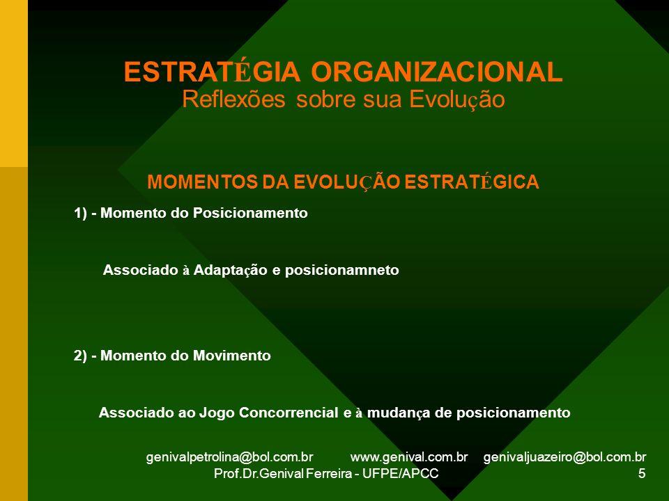 genivalpetrolina@bol.com.br www.genival.com.br genivaljuazeiro@bol.com.br Prof.Dr.Genival Ferreira - UFPE/APCC 5 ESTRAT É GIA ORGANIZACIONAL Reflexões