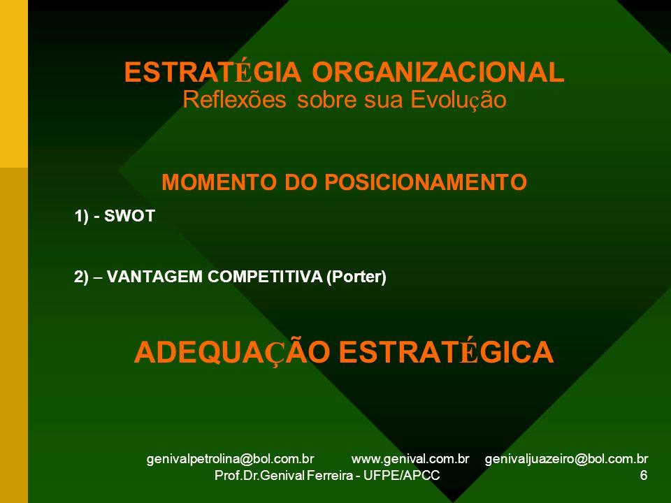 genivalpetrolina@bol.com.br www.genival.com.br genivaljuazeiro@bol.com.br Prof.Dr.Genival Ferreira - UFPE/APCC 6 ESTRAT É GIA ORGANIZACIONAL Reflexões