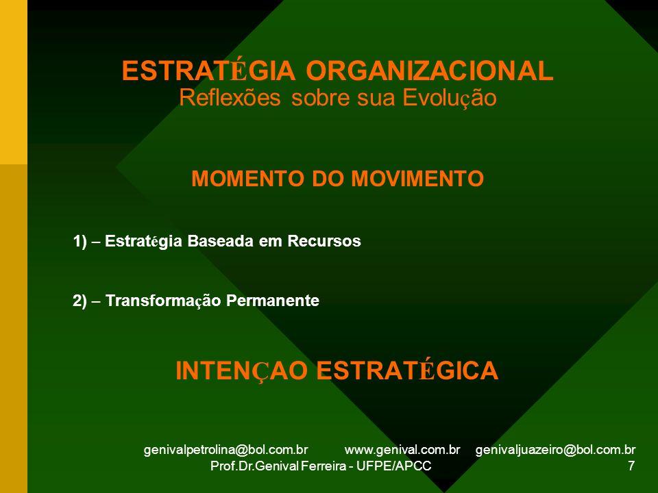 genivalpetrolina@bol.com.br www.genival.com.br genivaljuazeiro@bol.com.br Prof.Dr.Genival Ferreira - UFPE/APCC 7 ESTRAT É GIA ORGANIZACIONAL Reflexões