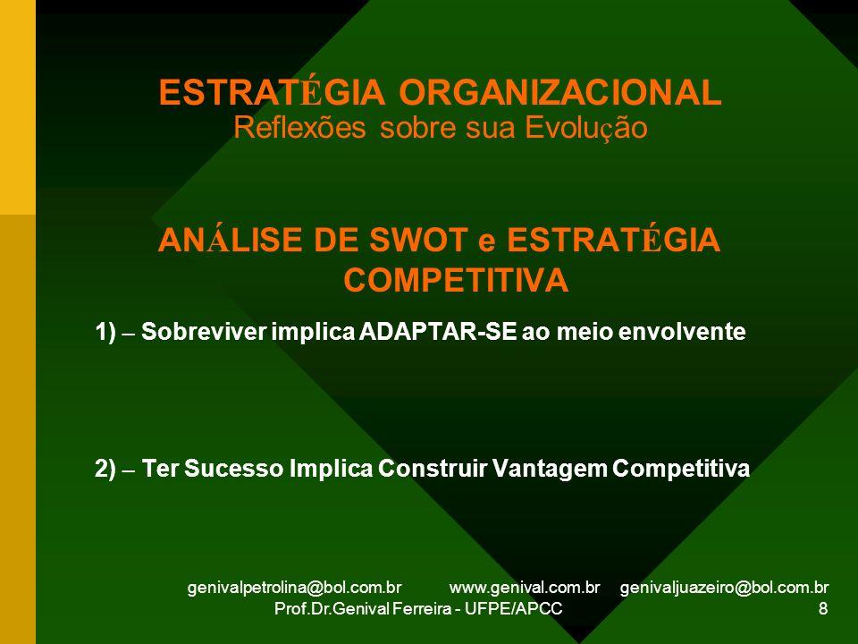 genivalpetrolina@bol.com.br www.genival.com.br genivaljuazeiro@bol.com.br Prof.Dr.Genival Ferreira - UFPE/APCC 8 ESTRAT É GIA ORGANIZACIONAL Reflexões