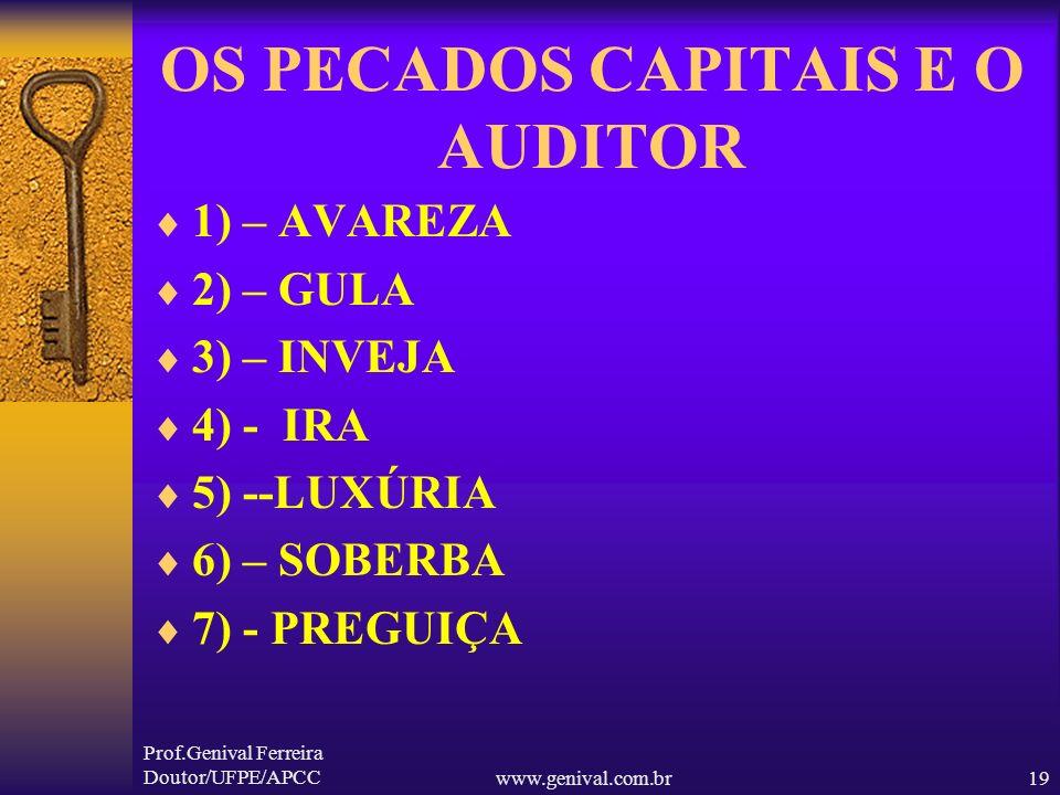 Prof.Genival Ferreira Doutor/UFPE/APCCwww.genival.com.br18 CONCEITO SOCIAL AUDITOR O auditor típico é um homem de meia idade, magro, enrugado, intelig