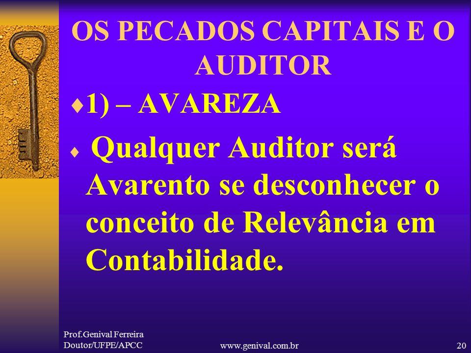 Prof.Genival Ferreira Doutor/UFPE/APCCwww.genival.com.br19 OS PECADOS CAPITAIS E O AUDITOR 1) – AVAREZA 2) – GULA 3) – INVEJA 4) - IRA 5) --LUXÚRIA 6)