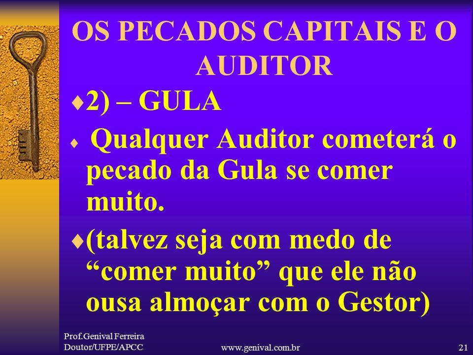 Prof.Genival Ferreira Doutor/UFPE/APCCwww.genival.com.br20 OS PECADOS CAPITAIS E O AUDITOR 1) – AVAREZA Qualquer Auditor será Avarento se desconhecer