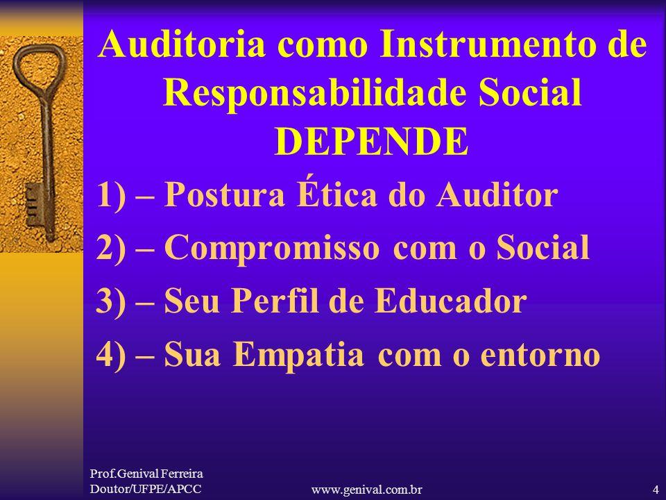 Prof.Genival Ferreira Doutor/UFPE/APCCwww.genival.com.br3 CONCEITO LITERAL DE AUDITOR 1) - AQUELE QUE OUVE; 2) - OUVINTE; 3) - MAGISTRADO ENCARREGADO