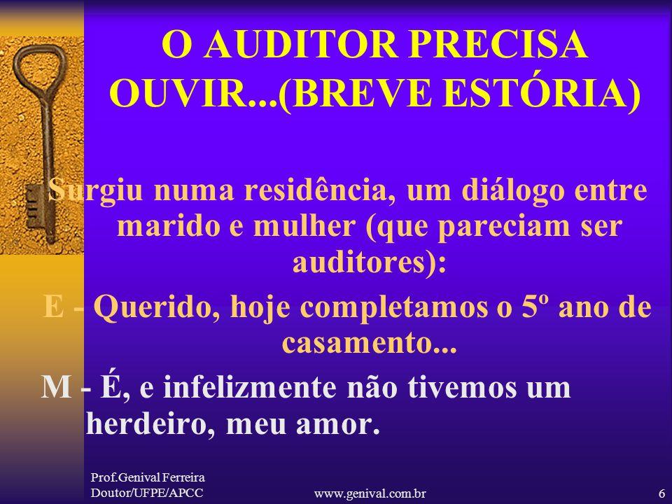 Prof.Genival Ferreira Doutor/UFPE/APCCwww.genival.com.br5 O AUDITOR PRECISA OUVIR...(BREVE ESTÓRIA) Num determinado país de regime forte, havia um Dec