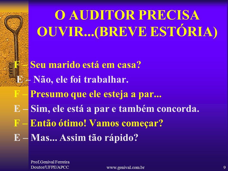 Prof.Genival Ferreira Doutor/UFPE/APCCwww.genival.com.br8 O AUDITOR PRECISA OUVIR...(BREVE ESTÓRIA) Logo após a saída do marido batem à porta. A mulhe