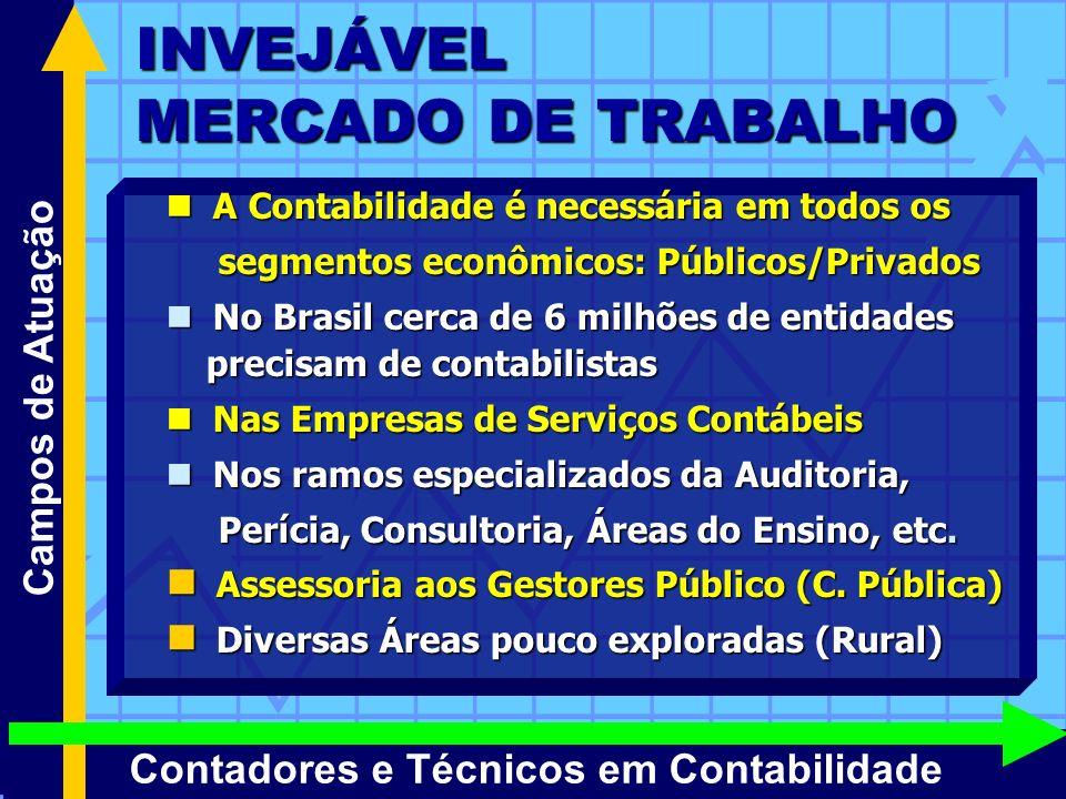 INVEJÁVEL MERCADO DE TRABALHO Campos de Atuação Contadores e Técnicos em Contabilidade A Contabilidade é necessária em todos os A Contabilidade é nece