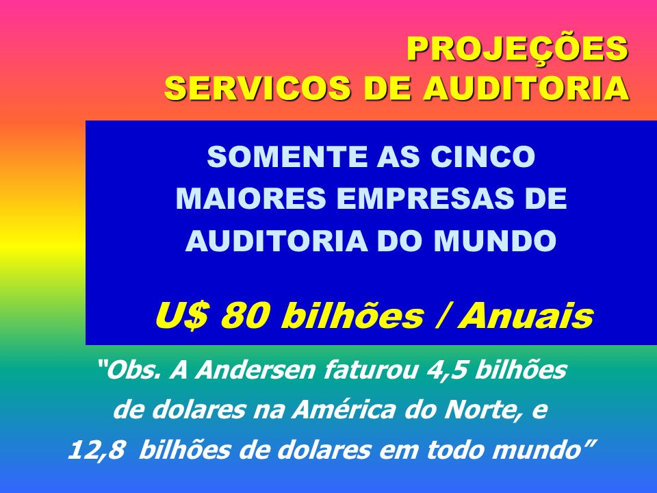 PROJEÇÕES SERVICOS DE AUDITORIA SOMENTE AS CINCO MAIORES EMPRESAS DE AUDITORIA DO MUNDO U$ 80 bilhões / Anuais Obs. A Andersen faturou 4,5 bilhões de