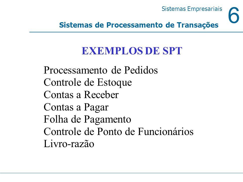 6 Sistemas Empresariais Sistemas de Processamento de Transações EXEMPLOS DE SPT Processamento de Pedidos Controle de Estoque Contas a Receber Contas a