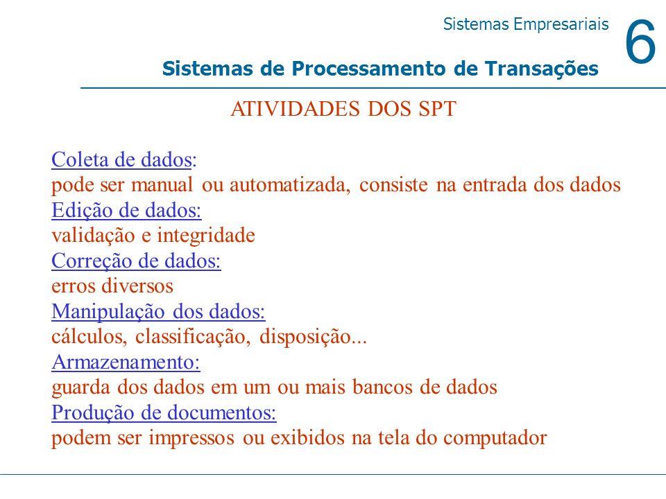 6 Sistemas Empresariais Sistemas de Processamento de Transações ATIVIDADES DOS SPT Coleta de dados: pode ser manual ou automatizada, consiste na entra