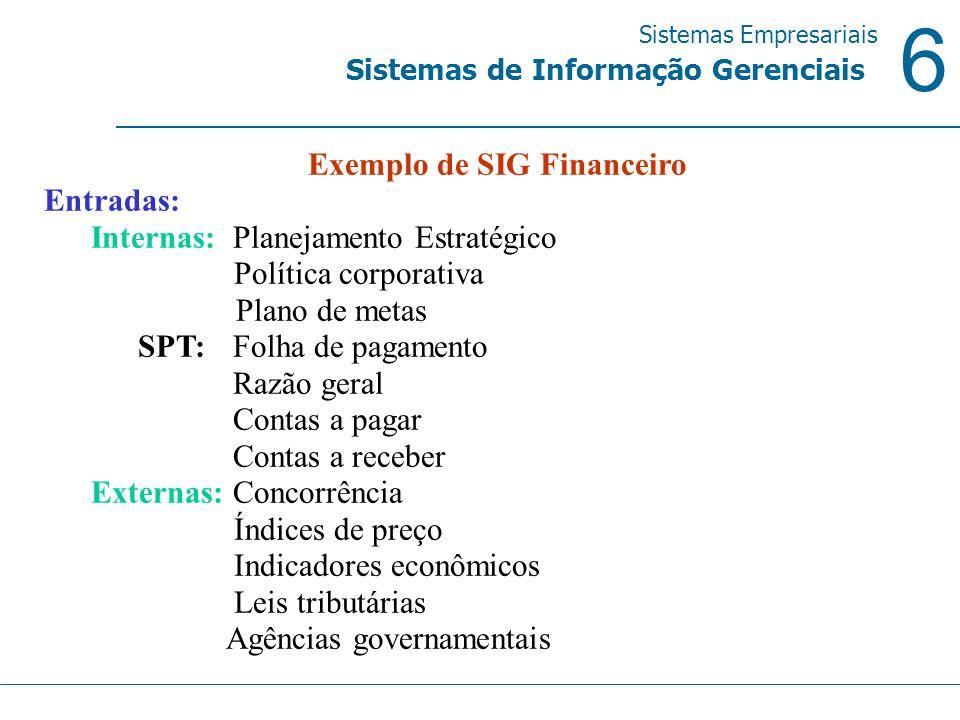 6 Sistemas Empresariais Sistemas de Informação Gerenciais Exemplo de SIG Financeiro Entradas: Internas: Planejamento Estratégico Política corporativa