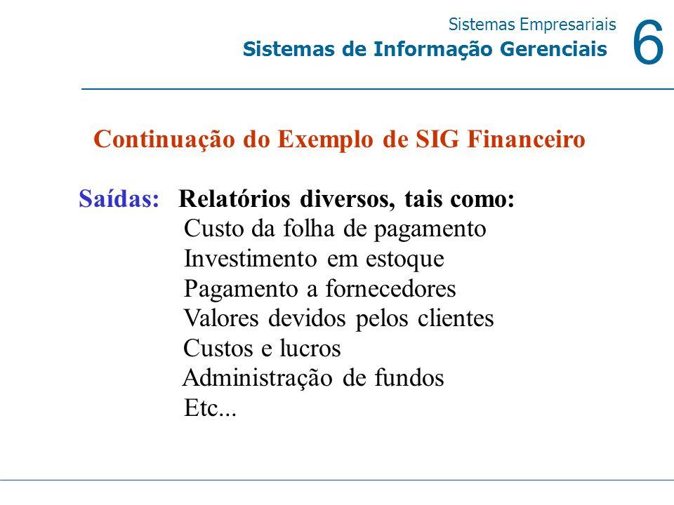 6 Sistemas Empresariais Sistemas de Informação Gerenciais Continuação do Exemplo de SIG Financeiro Saídas: Relatórios diversos, tais como: Custo da fo