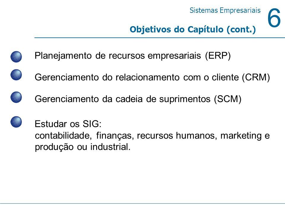 6 Sistemas Empresariais Objetivos do Capítulo (cont.) Planejamento de recursos empresariais (ERP) Gerenciamento do relacionamento com o cliente (CRM)