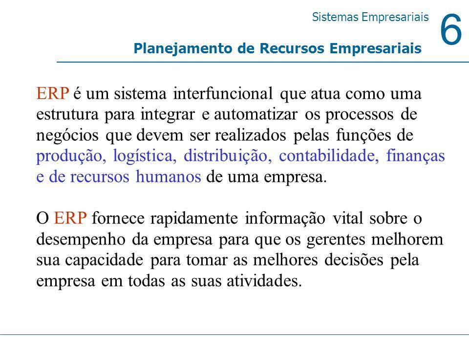 6 Sistemas Empresariais Planejamento de Recursos Empresariais ERP é um sistema interfuncional que atua como uma estrutura para integrar e automatizar