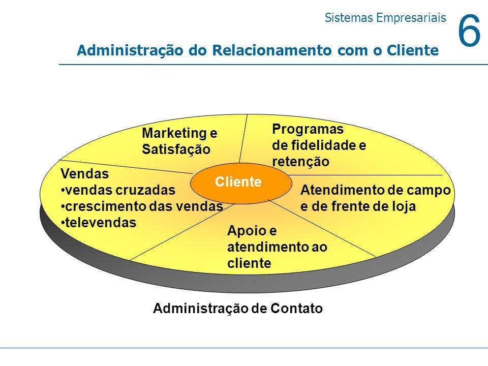 6 Sistemas Empresariais Administração do Relacionamento com o Cliente Vendas vendas cruzadas crescimento das vendas televendas Atendimento de campo e
