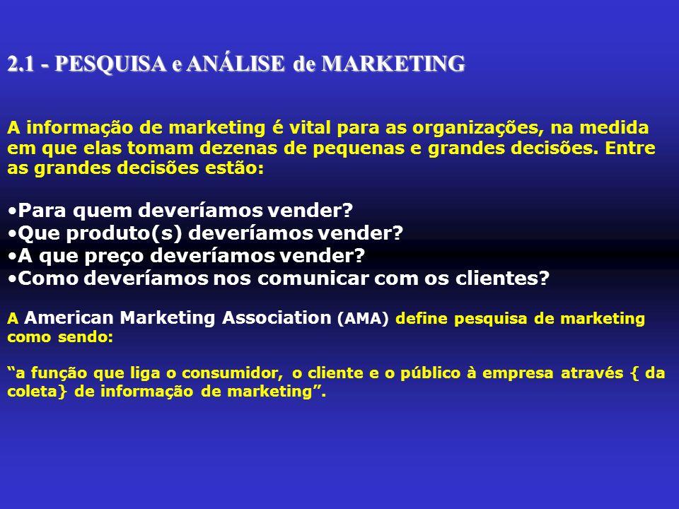 2.1 - PESQUISA e ANÁLISE de MARKETING A informação de marketing é vital para as organizações, na medida em que elas tomam dezenas de pequenas e grande