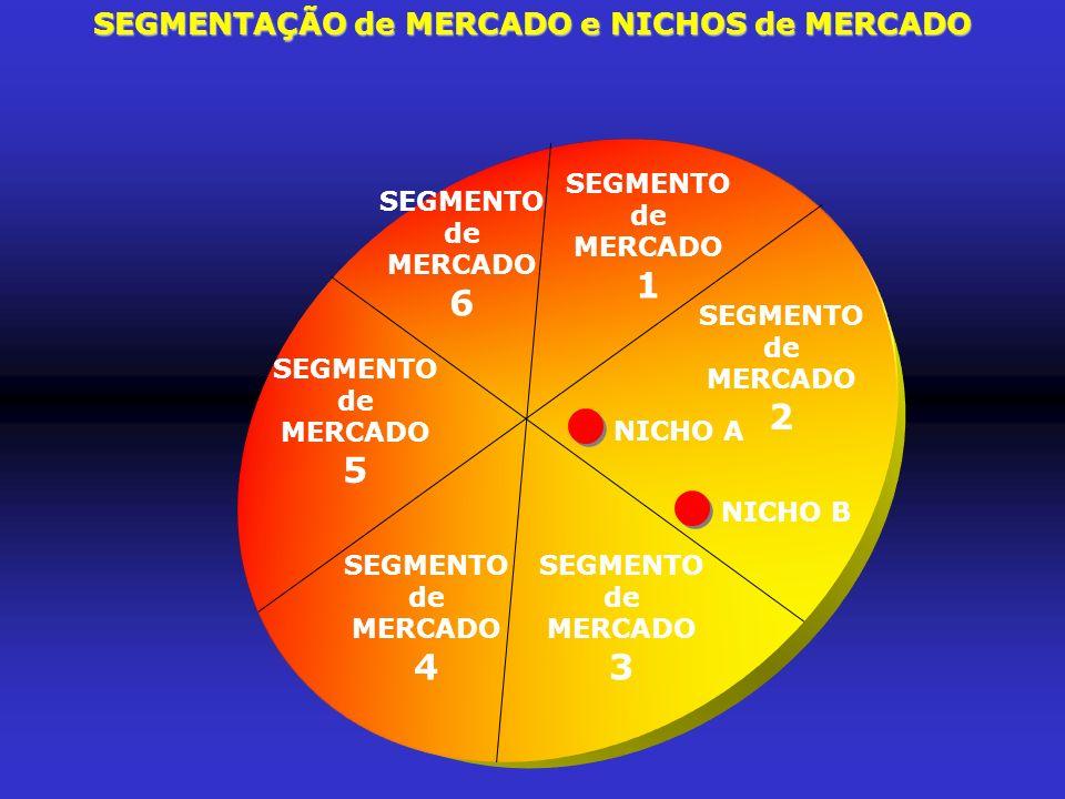 SEGMENTAÇÃO de MERCADO e NICHOS de MERCADO SEGMENTO de MERCADO 5 SEGMENTO de MERCADO 6 SEGMENTO de MERCADO 1 SEGMENTO de MERCADO 2 NICHO A NICHO B SEG