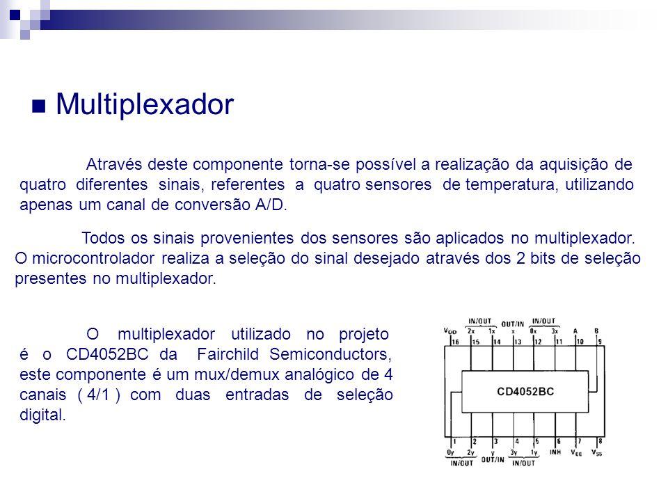 Multiplexador Através deste componente torna-se possível a realização da aquisição de quatro diferentes sinais, referentes a quatro sensores de temper