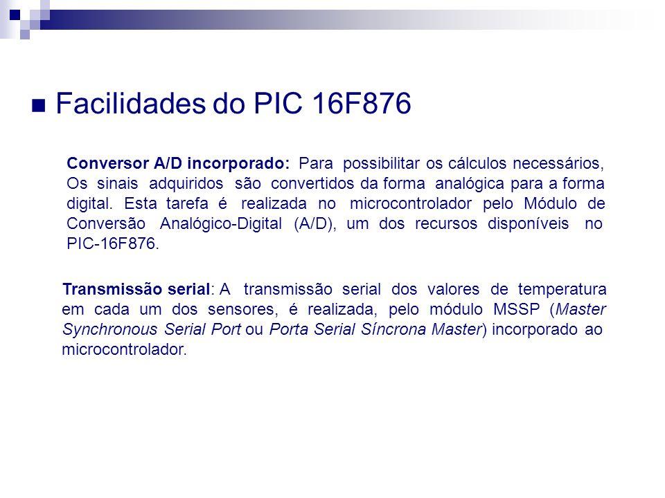 Facilidades do PIC 16F876 Conversor A/D incorporado: Para possibilitar os cálculos necessários, Os sinais adquiridos são convertidos da forma analógic