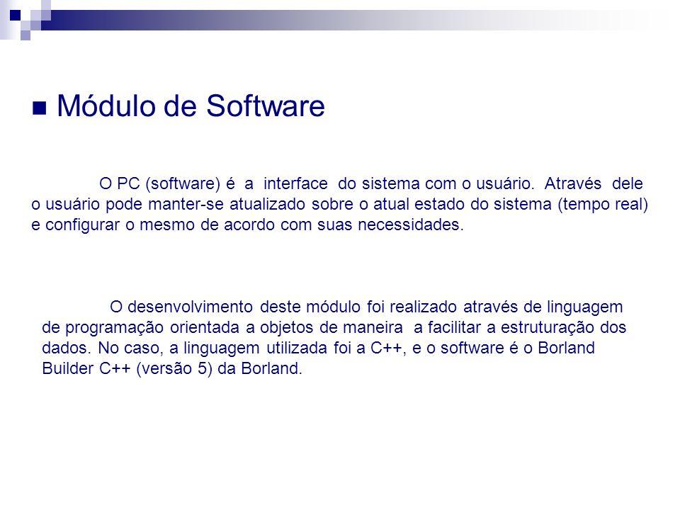 Módulo de Software O desenvolvimento deste módulo foi realizado através de linguagem de programação orientada a objetos de maneira a facilitar a estru