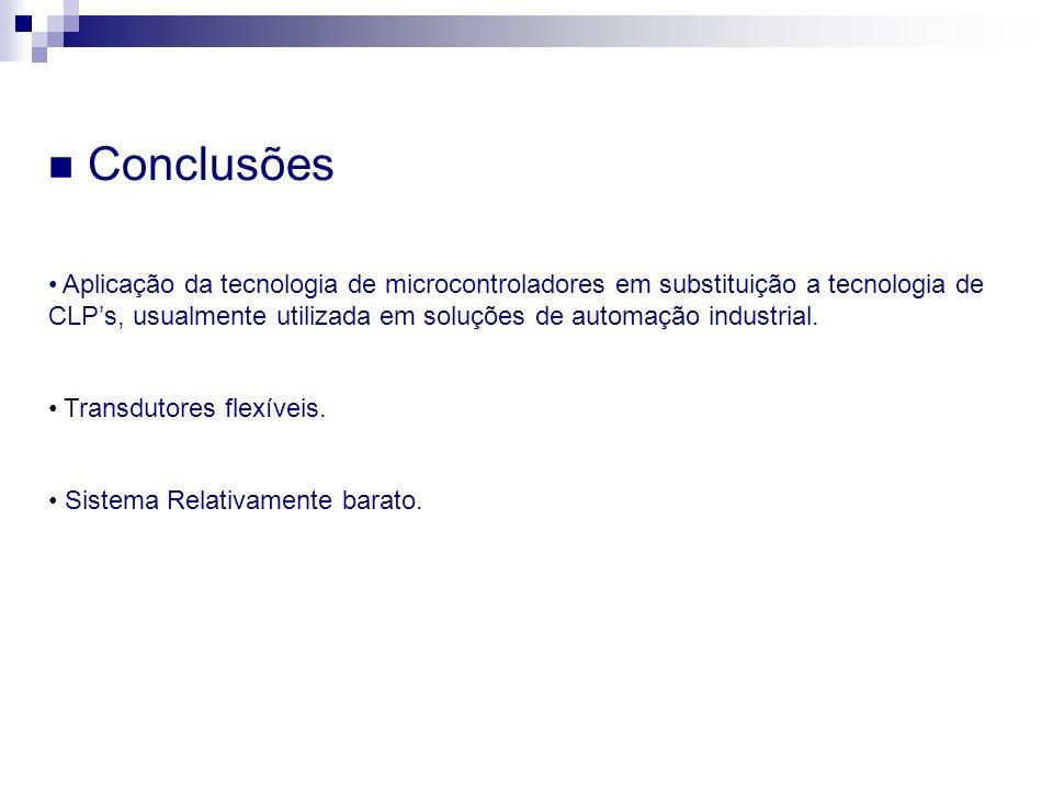 Conclusões Sistema Relativamente barato. Aplicação da tecnologia de microcontroladores em substituição a tecnologia de CLPs, usualmente utilizada em s