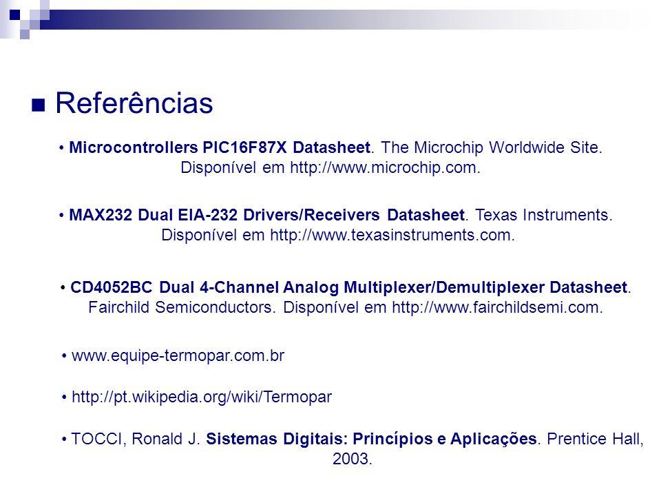 Referências TOCCI, Ronald J. Sistemas Digitais: Princípios e Aplicações. Prentice Hall, 2003. www.equipe-termopar.com.br http://pt.wikipedia.org/wiki/